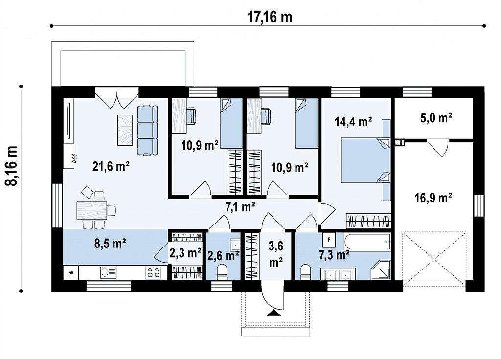 Одноэтажный дом на 3 комнаты, гостиная со столовой и гараж на одну машину план помещений 1