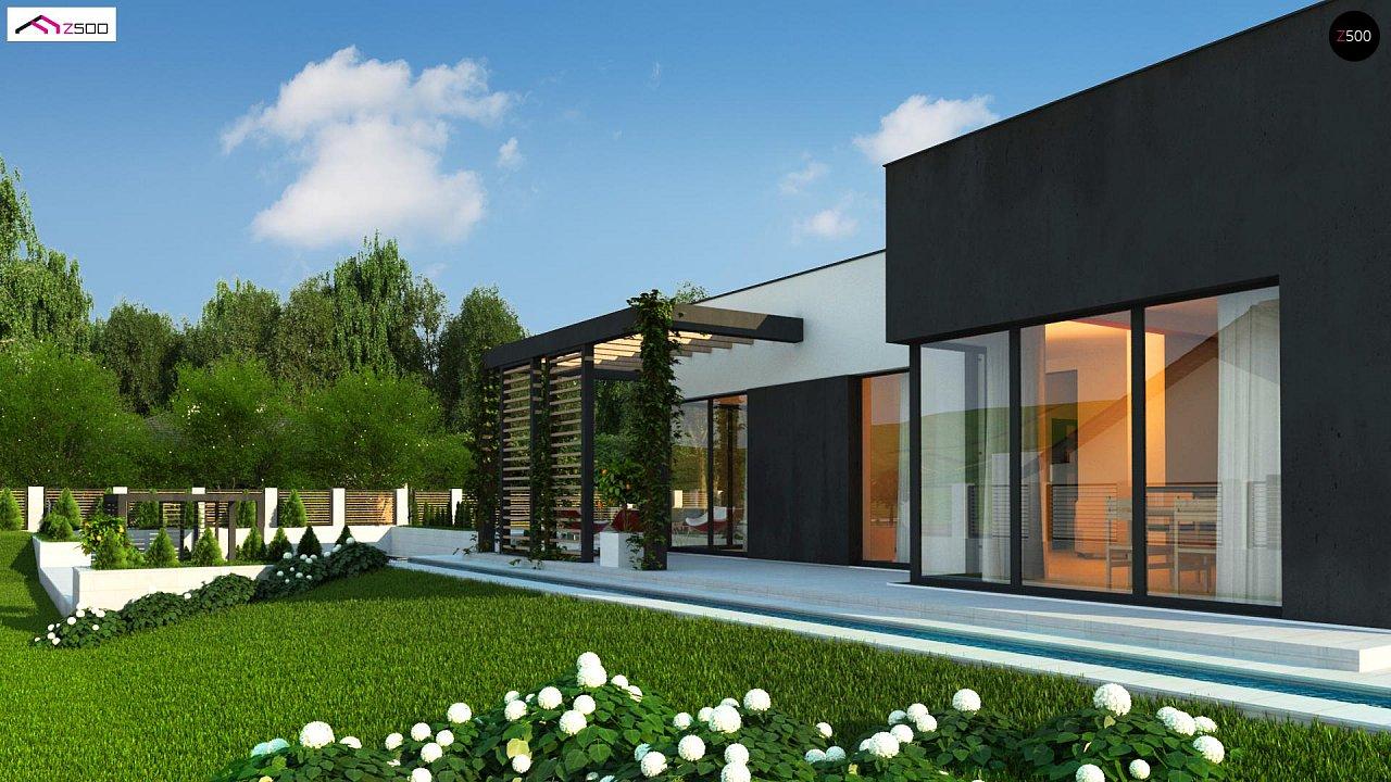 Проект современного двухэтажного дома с большой площадью. остекления. - фото 4