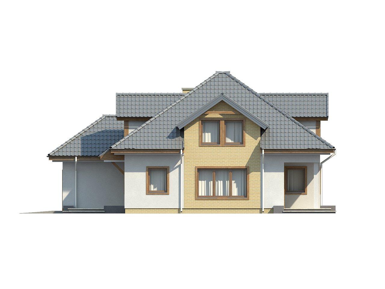 Проект дома с мансардой, с большим техническим помещением и дополнительной спальней на первом этаже. - фото 6