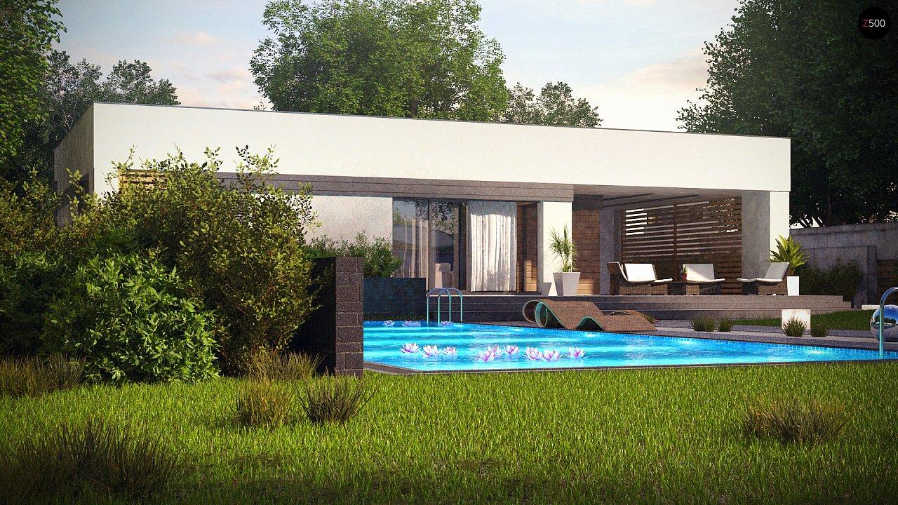 Современный одноэтажный дом хай-тек с навесом для автомобиля 3