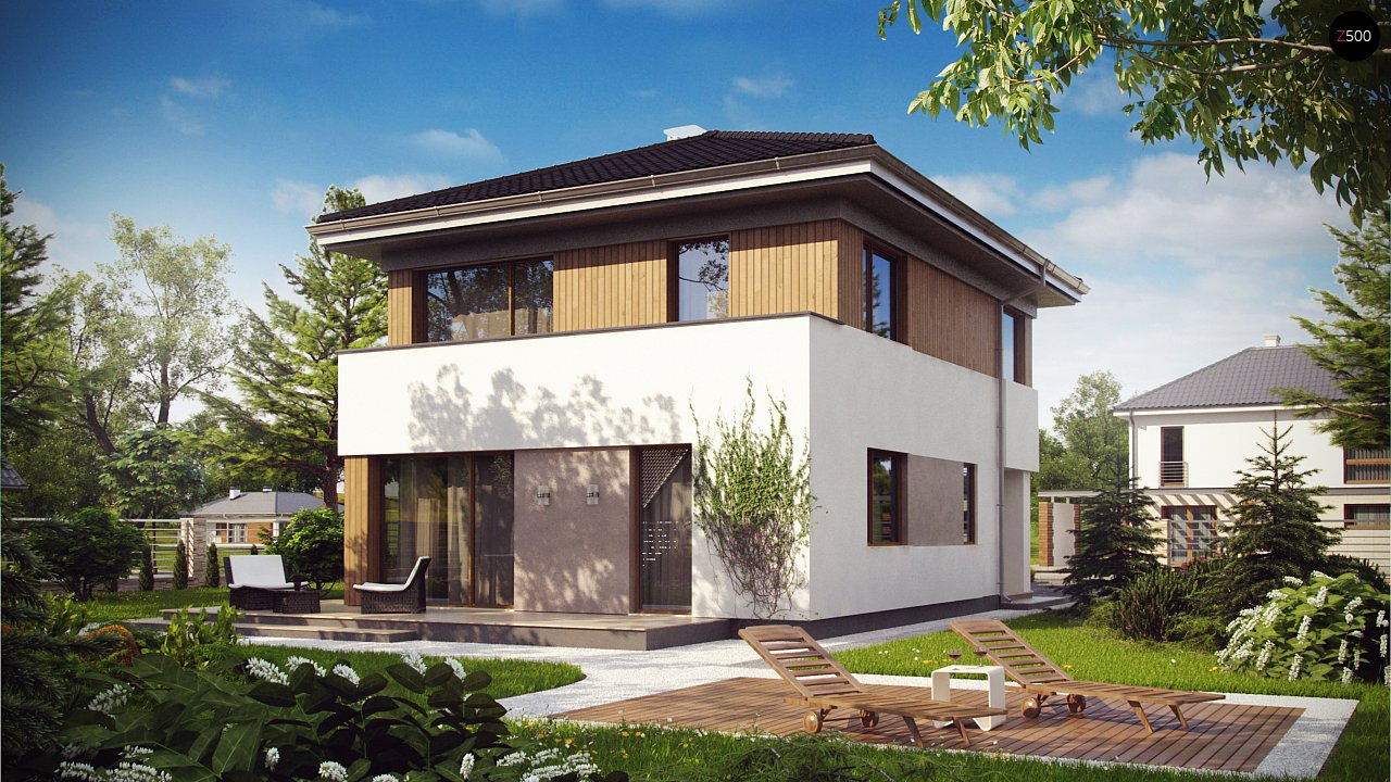 Проект компактного двухэтажного дома строгого современного стиля. 1