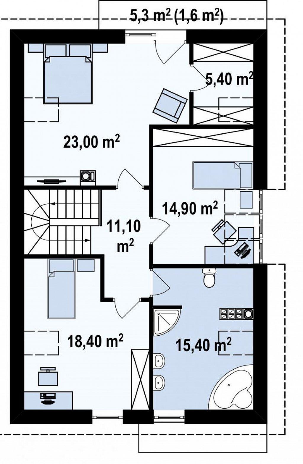 Дом в традиционном стиле с мансардой, со встроенным гаражом, подходящий для узкого участка. план помещений 2