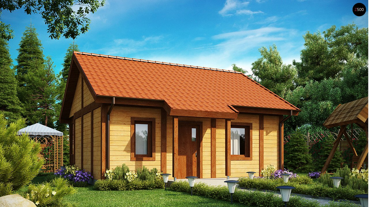 Маленький одноэтажный дом, оснащенный всем необходимым для круглогодичного проживания. 2