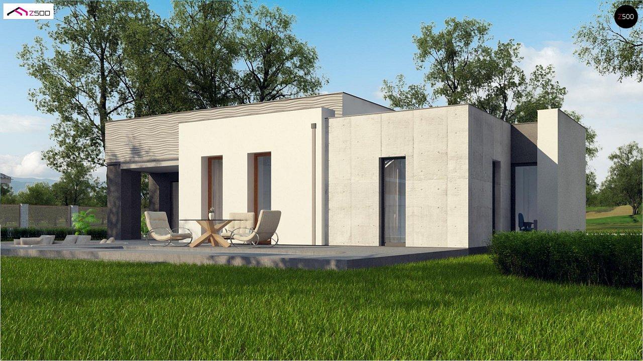 Проект современного дома с плоской кровлей и просторной открытой дневной зоной. 3