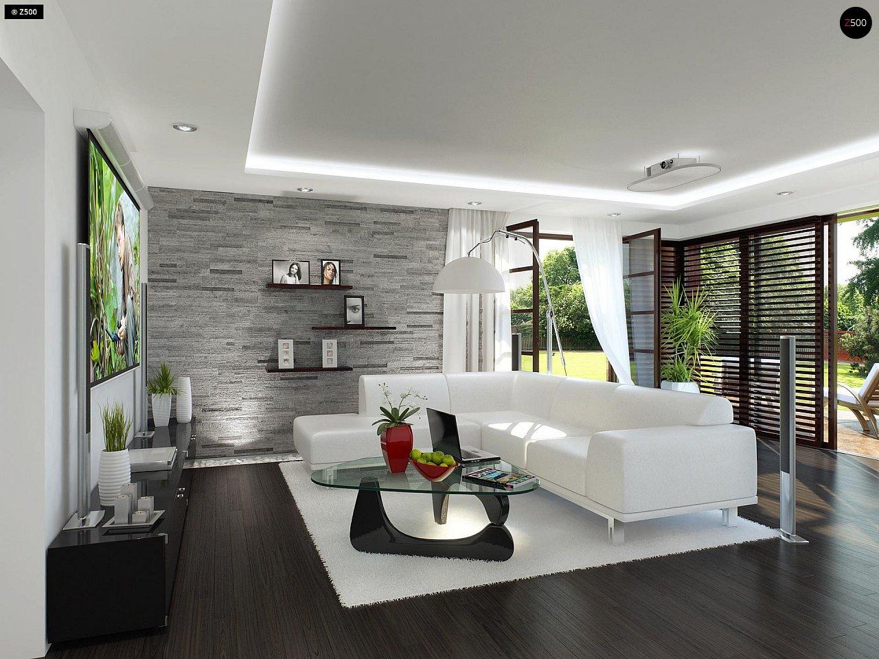 Двухэтажный дома в стиле модерн с практичным интерьером и гаражом для двух автомобилей. 4