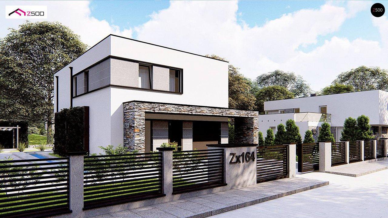 Проект двухэтажного просторного дома с плоской кровлей и панорамным остеклением. 3