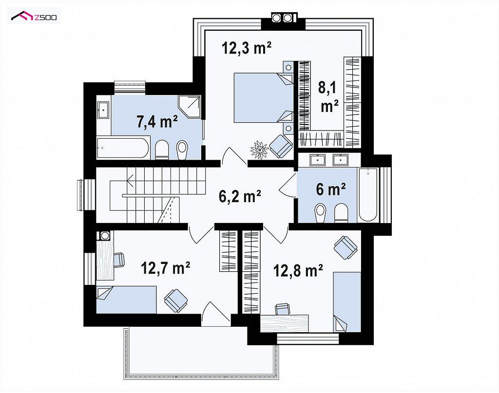 Современный двухэтажный дом без гаража план помещений 2