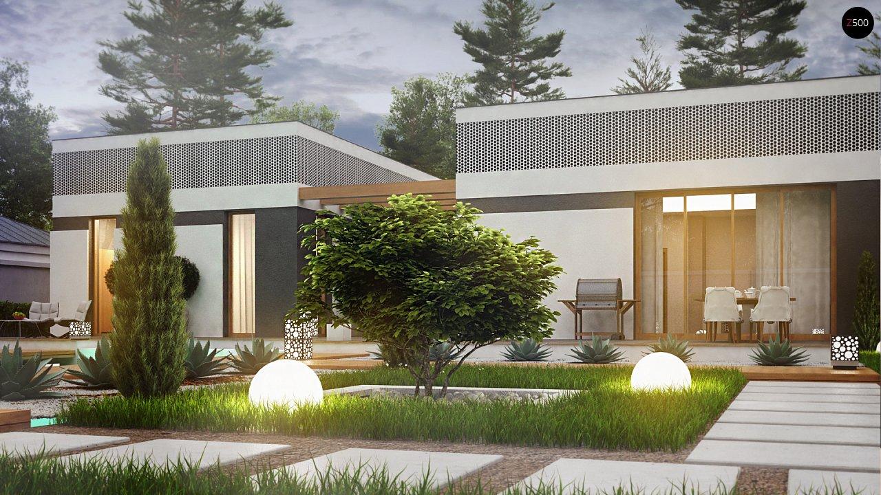 Проект дома в современном стиле с закрытой террасой - фото 10