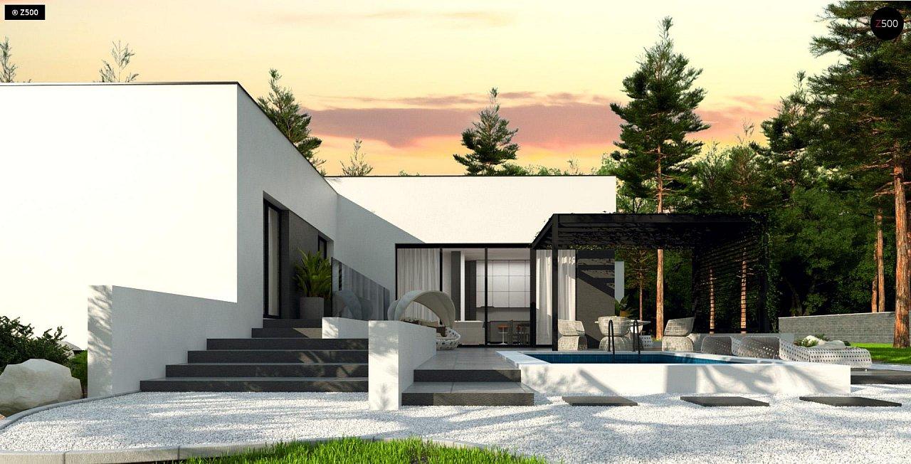 Проект современного одноэтажного дома с плоской кровлей. - фото 2