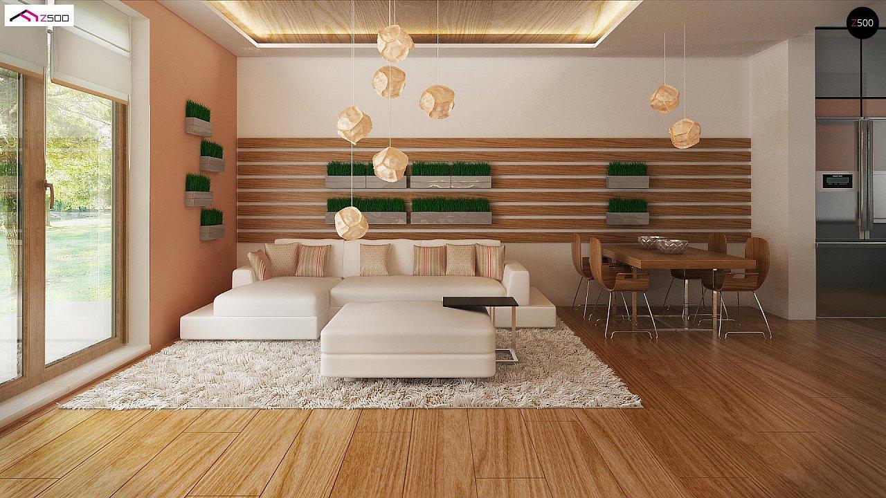 Аккуратный одноэтажный дом с деревянной отделкой на фасадах. 7