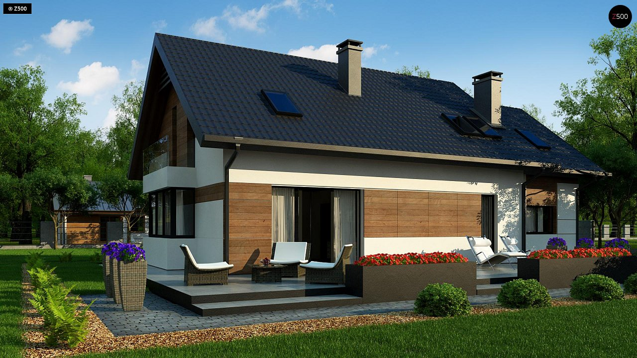 Красивый дом в традиционном стиле архитектуры, с комнатой на пером этаже и гаражом. - фото 4