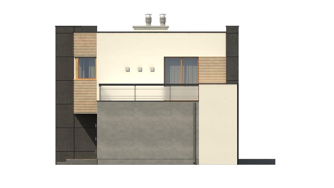 Двухэтажный дом в модернистского дизайна с гаражом и террасой на верхнем этаже. 12