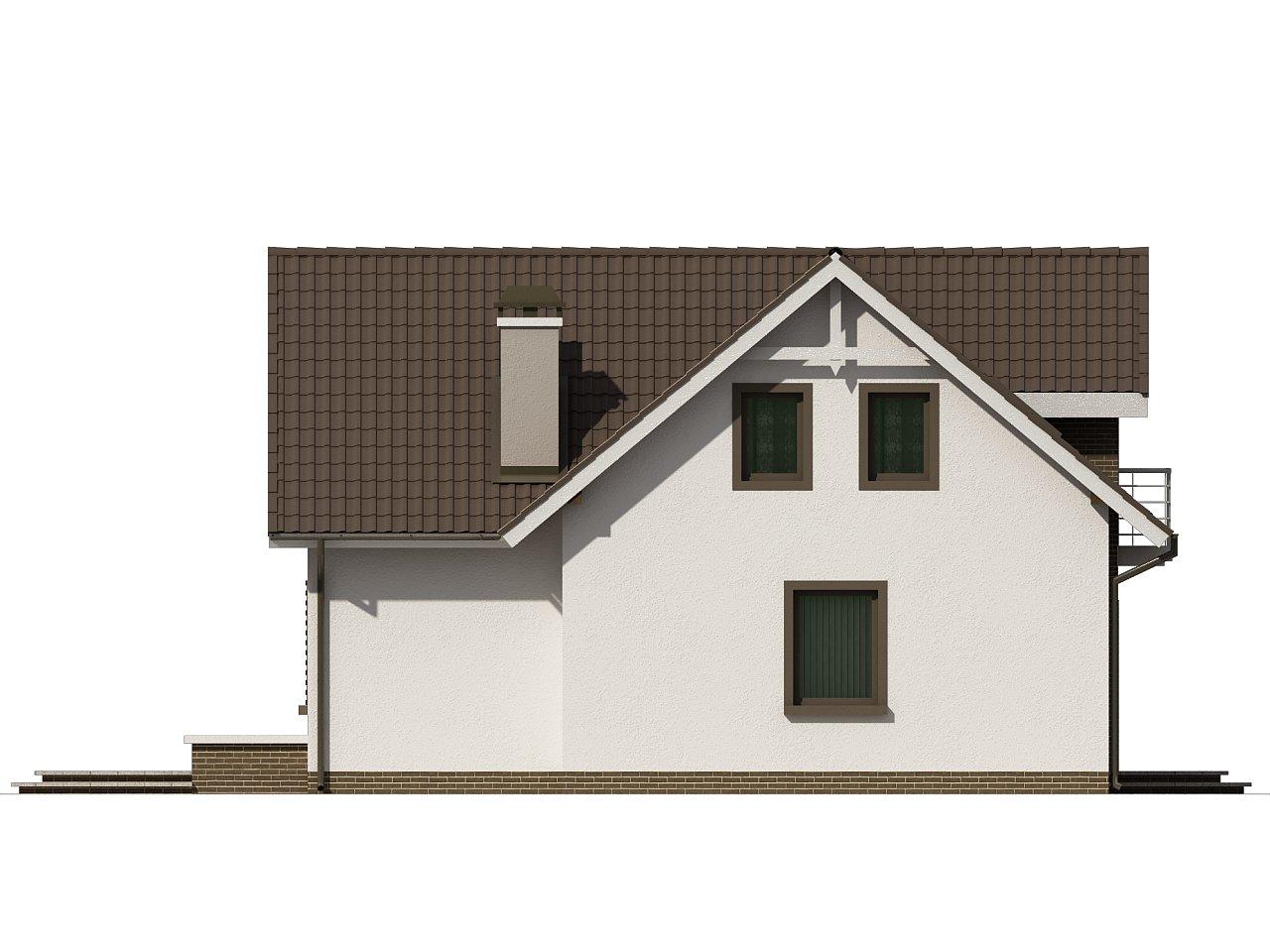 Простой в строительстве дом с балконом над входом. 9