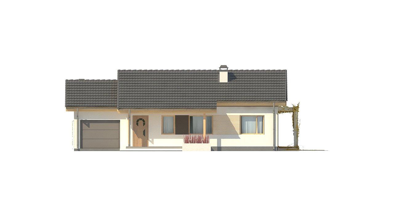 Небольшой одноэтажный дом с большой площадью остекления в гостиной. 10