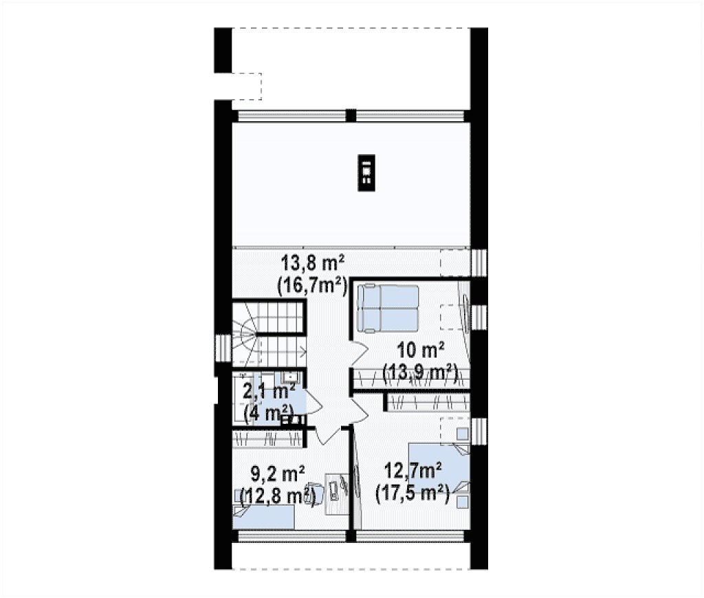 Мансардный дом со встроенным гаражом для одного автомобиля. план помещений 2