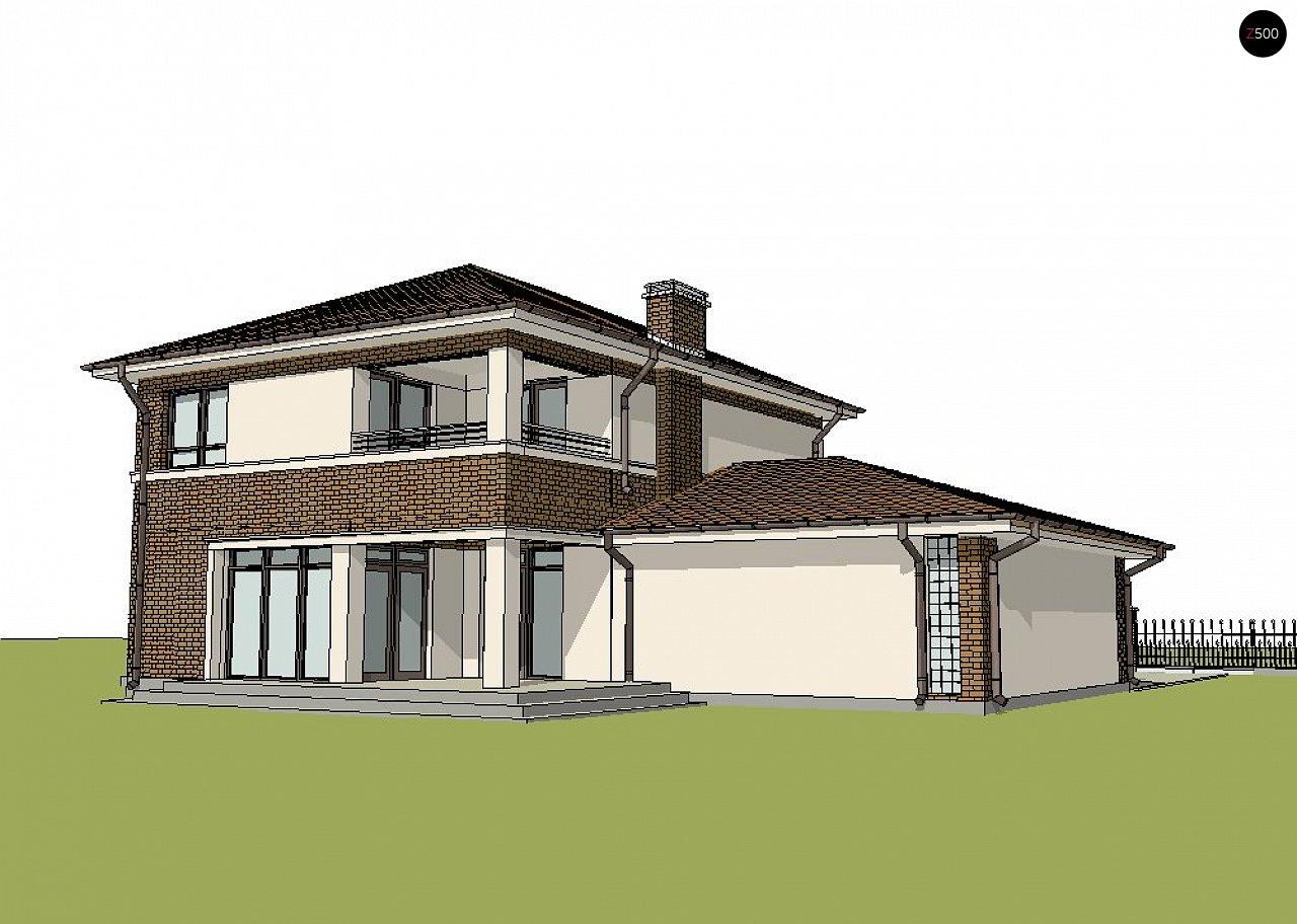 Версия двухэтажного дома Zx24 c увеличенным гаражом для двух машин 4