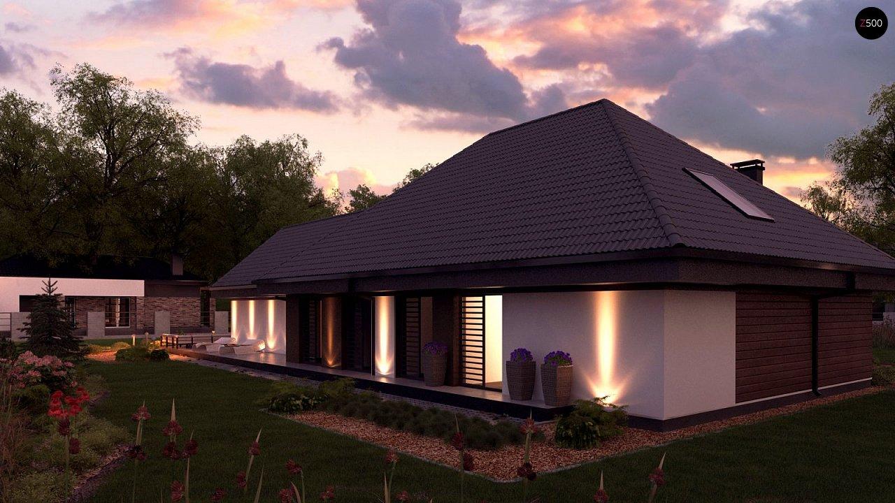 Одноэтажный дом в современном стиле, с многоскатной крышей и гаражом на два автомобиля. 4