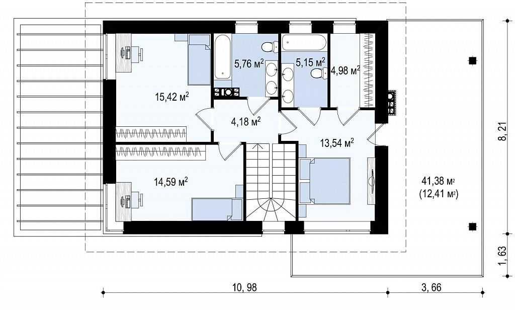 Увеличенная версия проекта современного дома Zx63 B план помещений 2