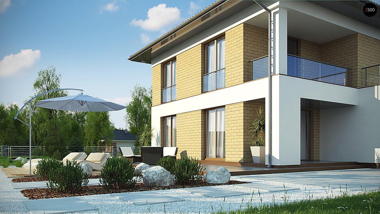 двухэтажный дом с гаражом на две машины в классическом стиле. 6