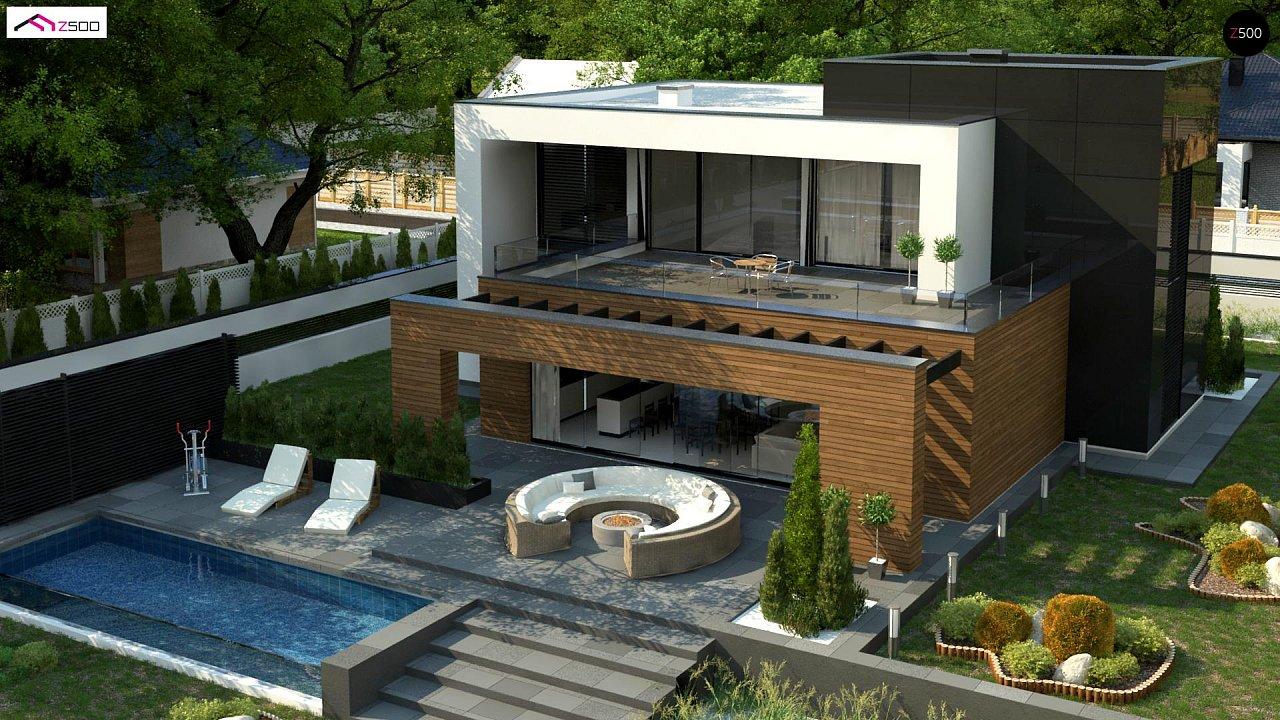 Двухэтажный коттедж с плоской крышей и большой террасой 5