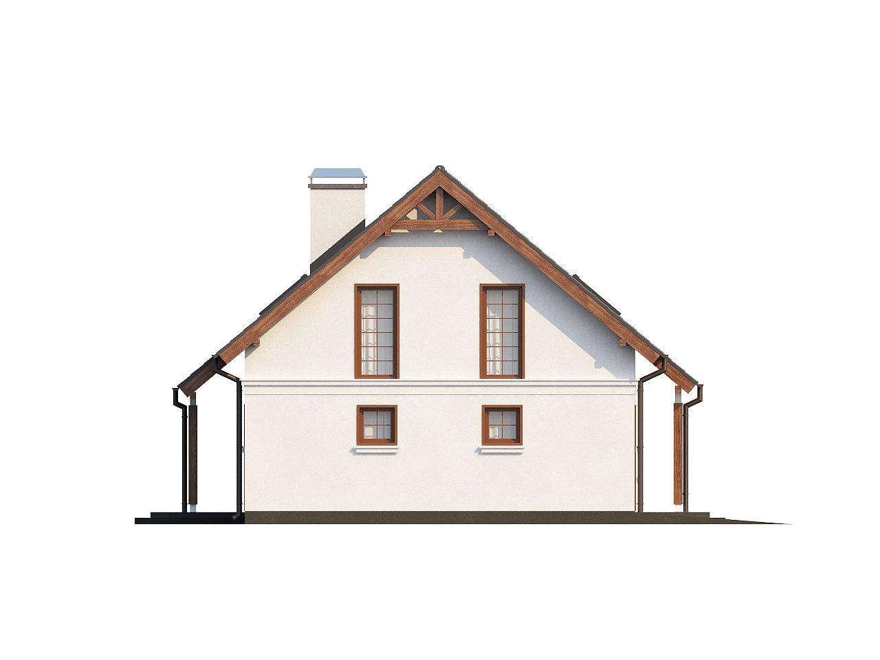 Элегантный дом простой формы со встроенным гаражом, эркером и балконом над ним. 12