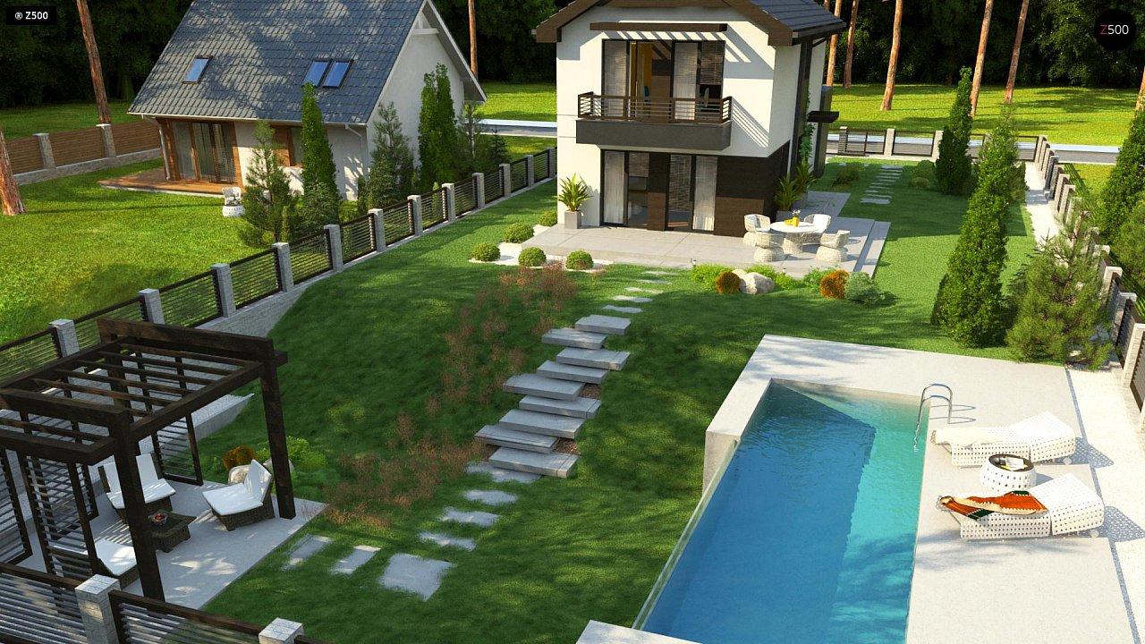 Проект двухэтажного дома в современном стиле, подойдет для строительства на узком участке. - фото 4