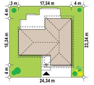 Проект комфортного одноэтажного дома с фронтальным гаражом для двух машин. план помещений 1