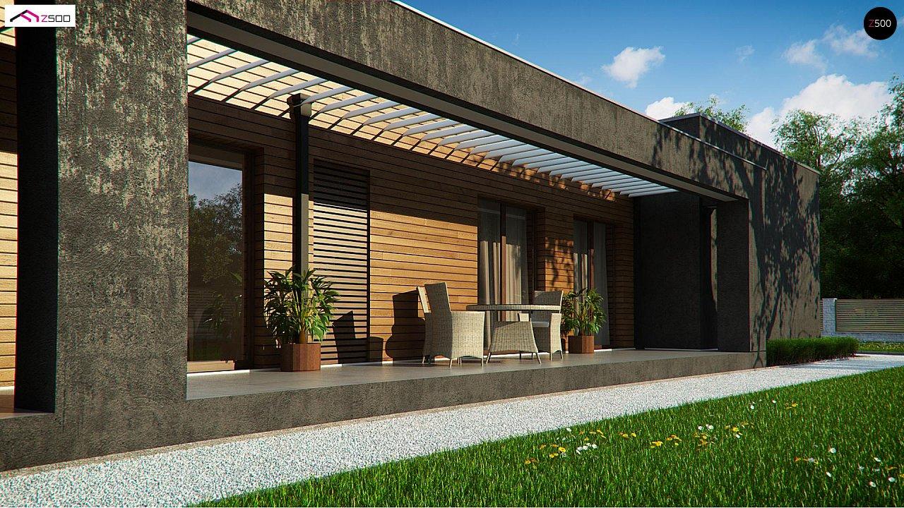 Одноэтажный дом с плоской кровлей и террасой 4