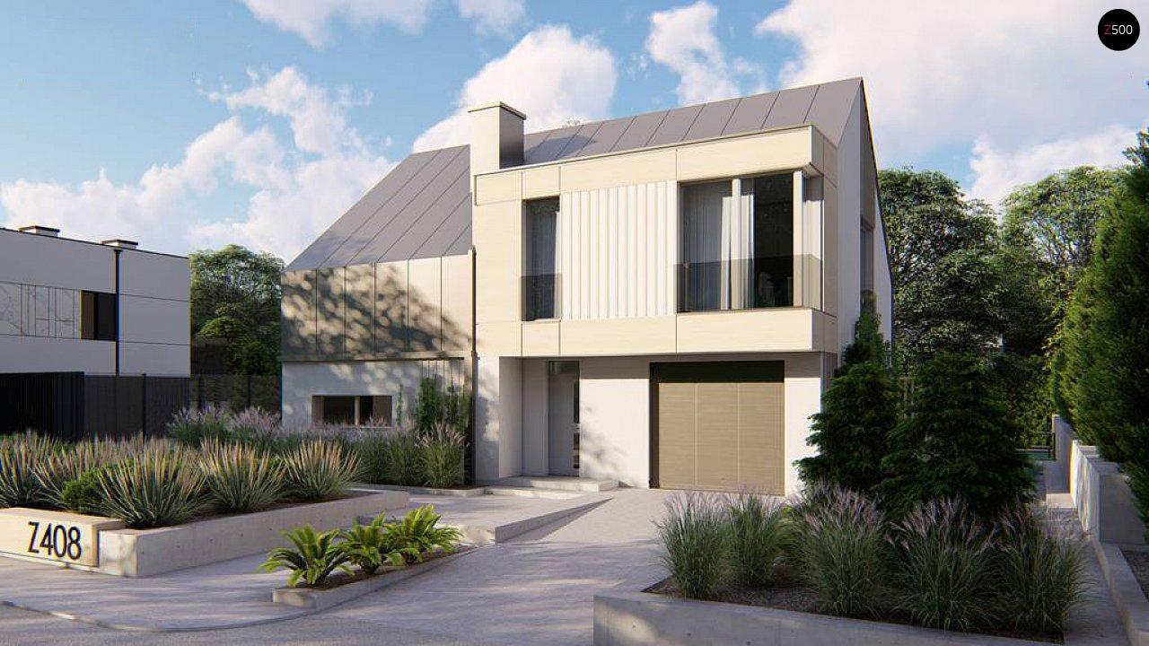 Cовременный проект дома с двускатной крышей и просторными большими мансардными окнами 1
