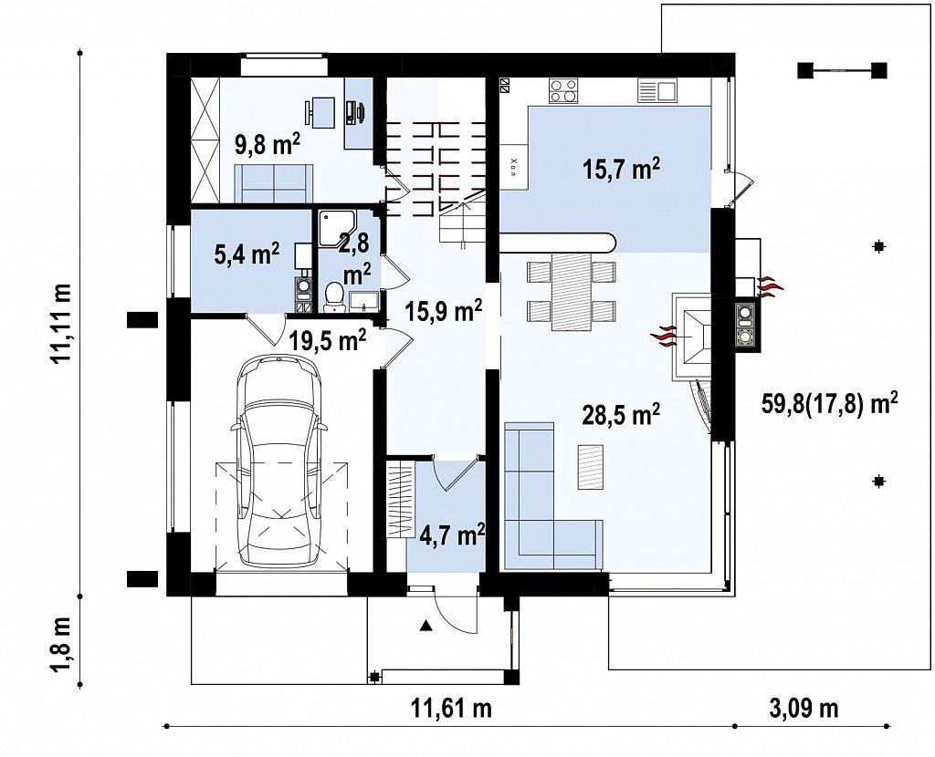 Двухэтажный дом простой формы со вторым светом над гостиной и встроенным гаражом. план помещений 1