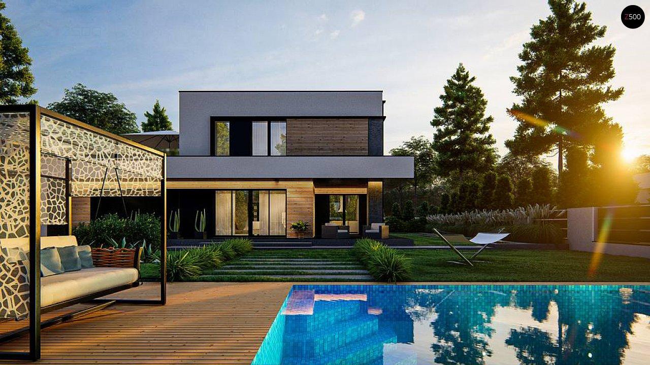 Cовременный двухэтажный дом с плоской крышей и гаражом на две машины. 6