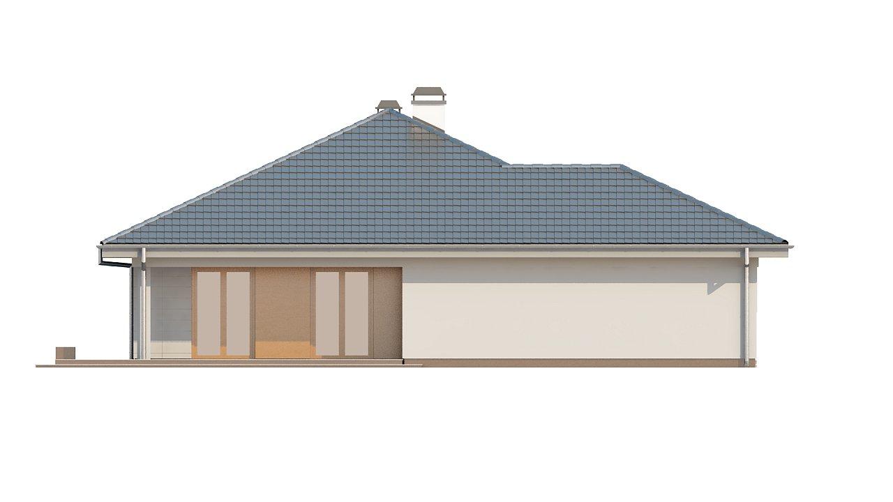 Практичный одноэтажный дом с гаражом для двух автомобилей и большим хозяйственным помещением. 24