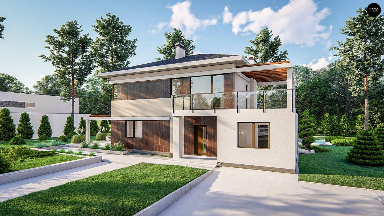 Современный двухэтажный проект дома с навесом - фото 2