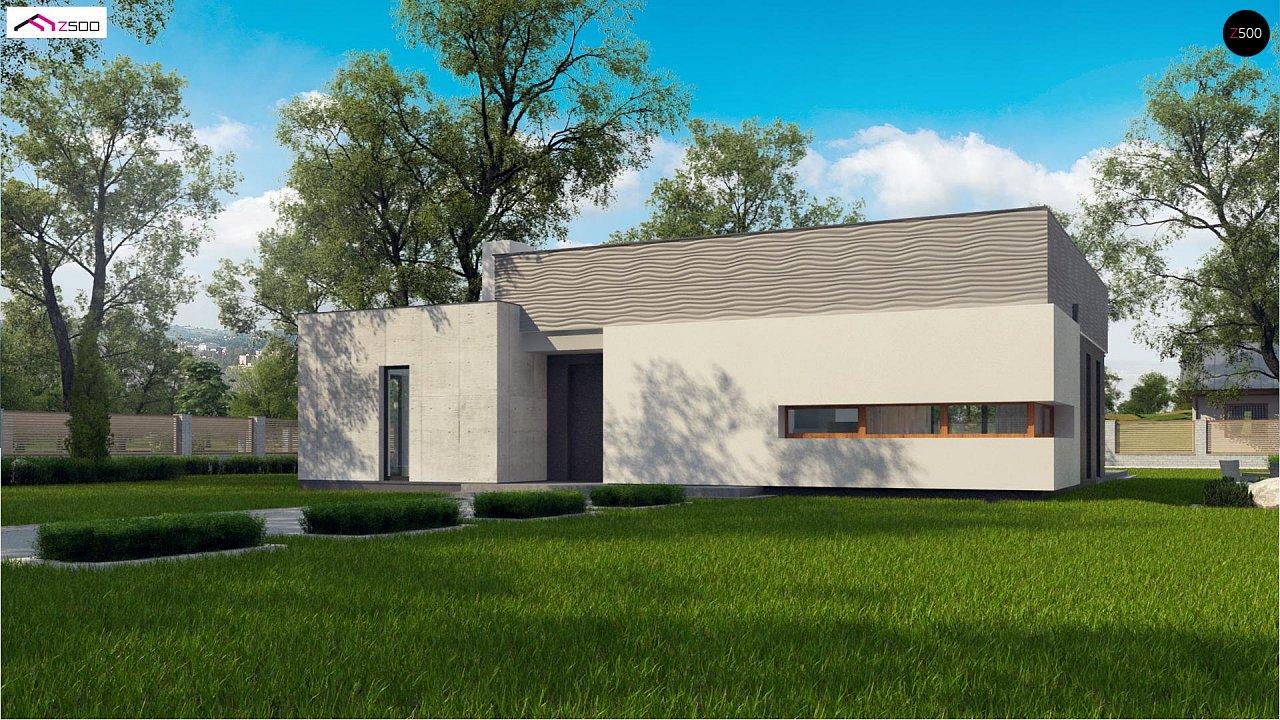 Проект современного дома с плоской кровлей и просторной открытой дневной зоной. 1