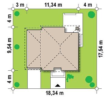 Двухэтажный дом, сочетающий традиционные формы и современный дизайн, с тремя спальнями и гаражом. план помещений 1
