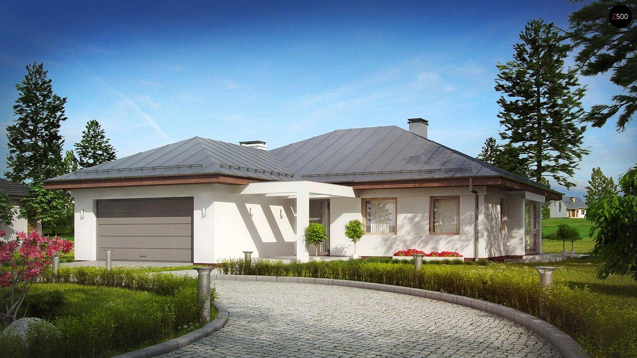 Функциональный одноэтажный дом с фронтальным гаражом для двух авто, большим хозяйственным помещением, с кухней со стороны сада. 2