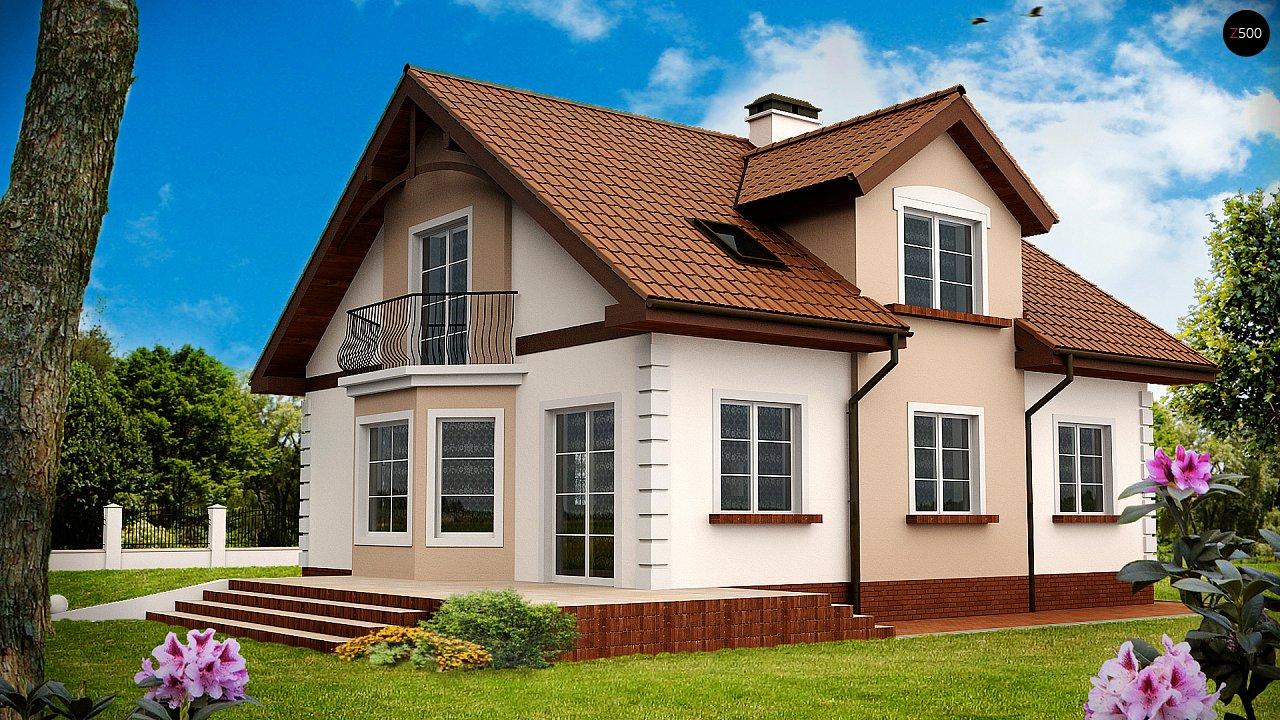 Элегантный дом с мансардой, эркером и балконом над ним. 2