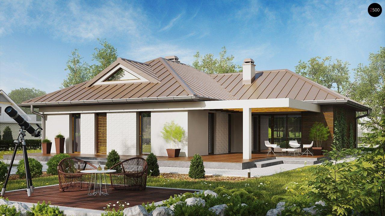 Проект удобного одноэтажного дома с большой угловой террасой. 2