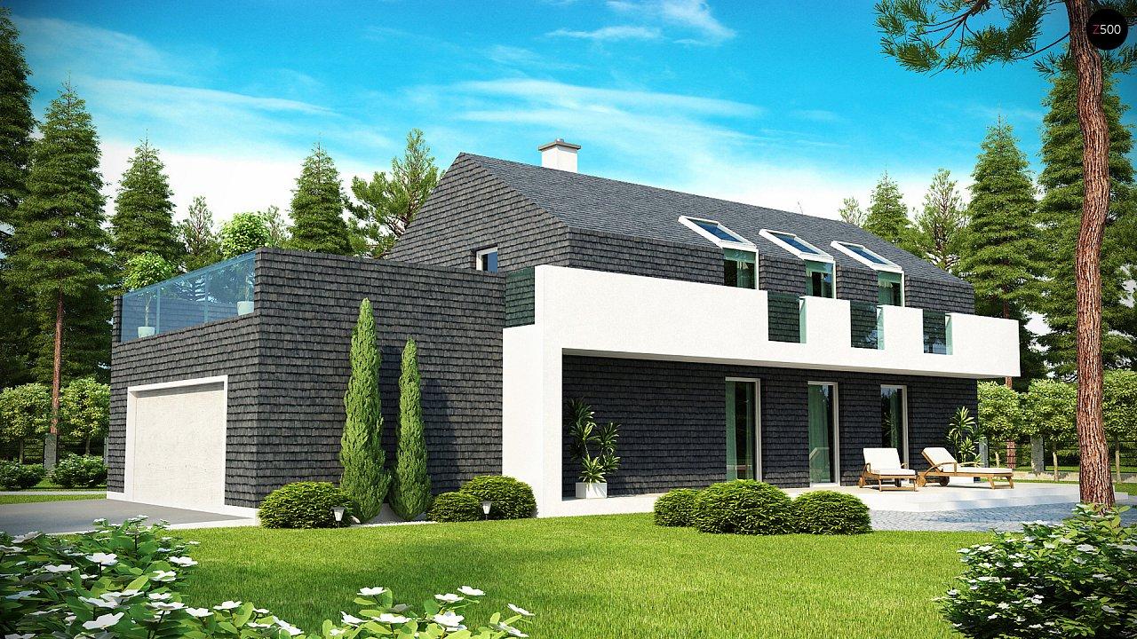 Современный эксклюзивный дом с каменной облицовкой, подходящий для узкого участка. 2
