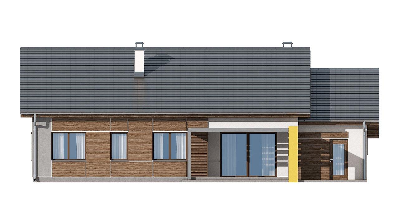 Проект одноэтажного дома с двускатной кровлей, с тремя спальнями и гаражом. - фото 14