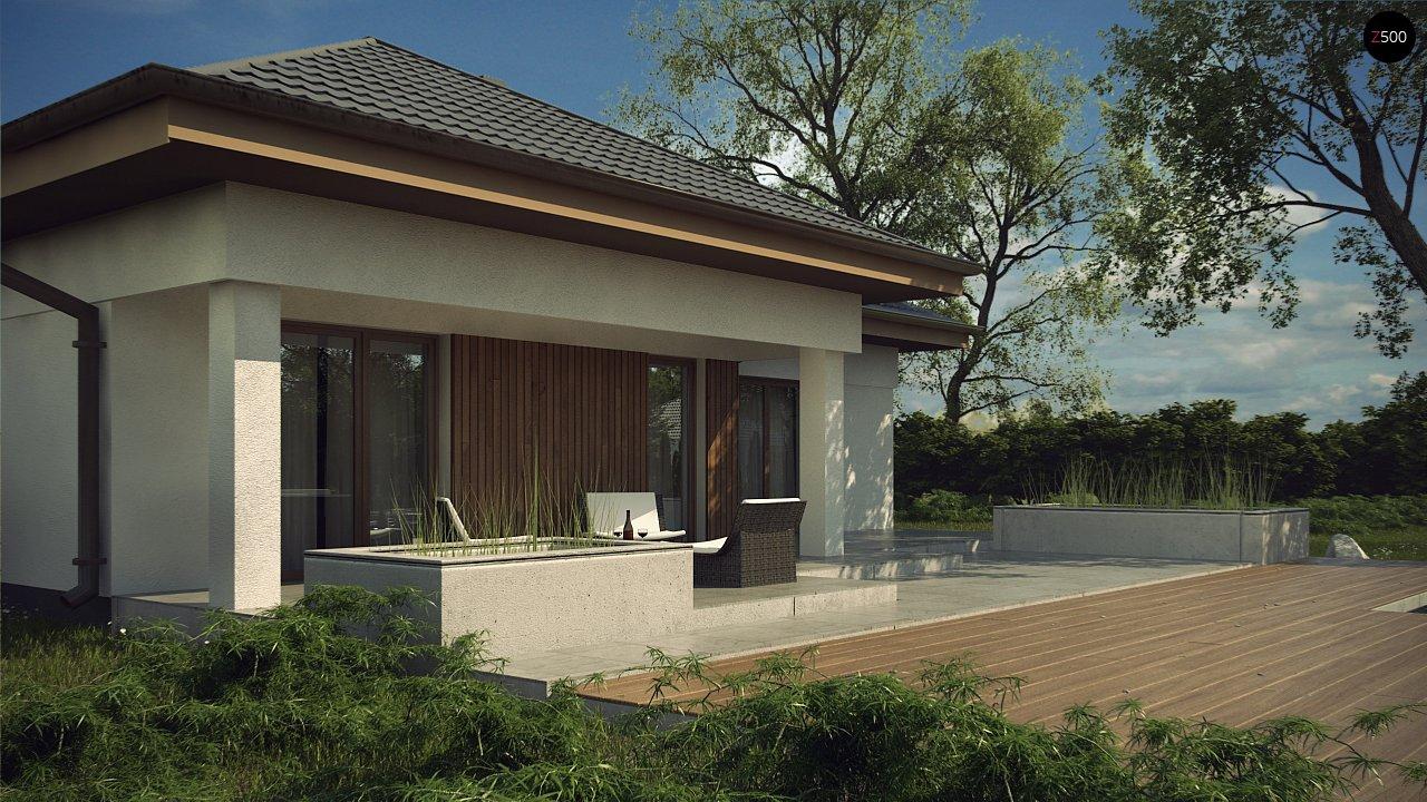 Одноэтажный дом с многоскатной крышей, с удобным функциональным интерьером. 7