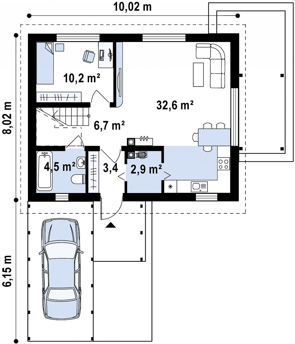 Проект дома в традиционном стиле с двускатной крышей. план помещений 1