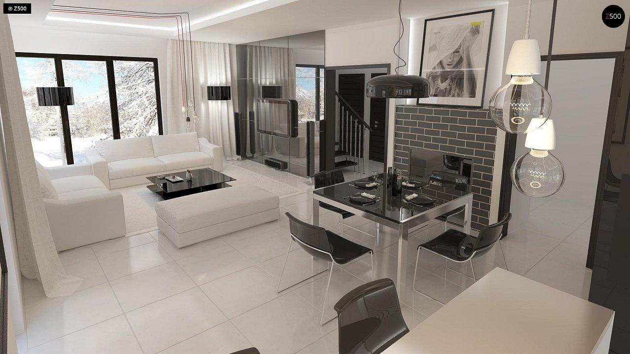 Проект просторного двухэтажного дома для симметричной застройки с террасой над гаражом. 5