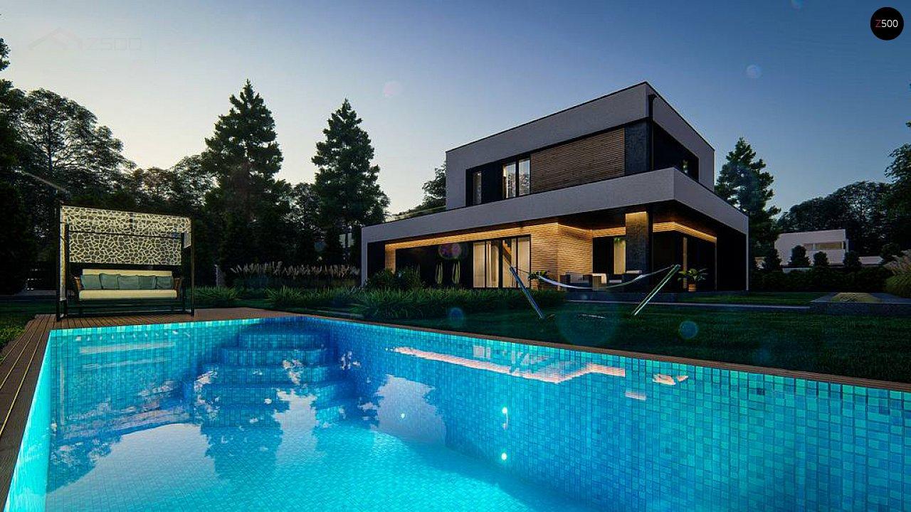 Cовременный двухэтажный дом с плоской крышей и гаражом на две машины. 7