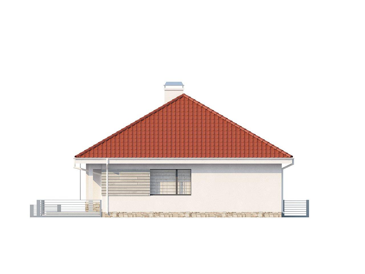 Проект компактного и функционального одноэтажного дома с фронтальным расположением дневной зоны. 4