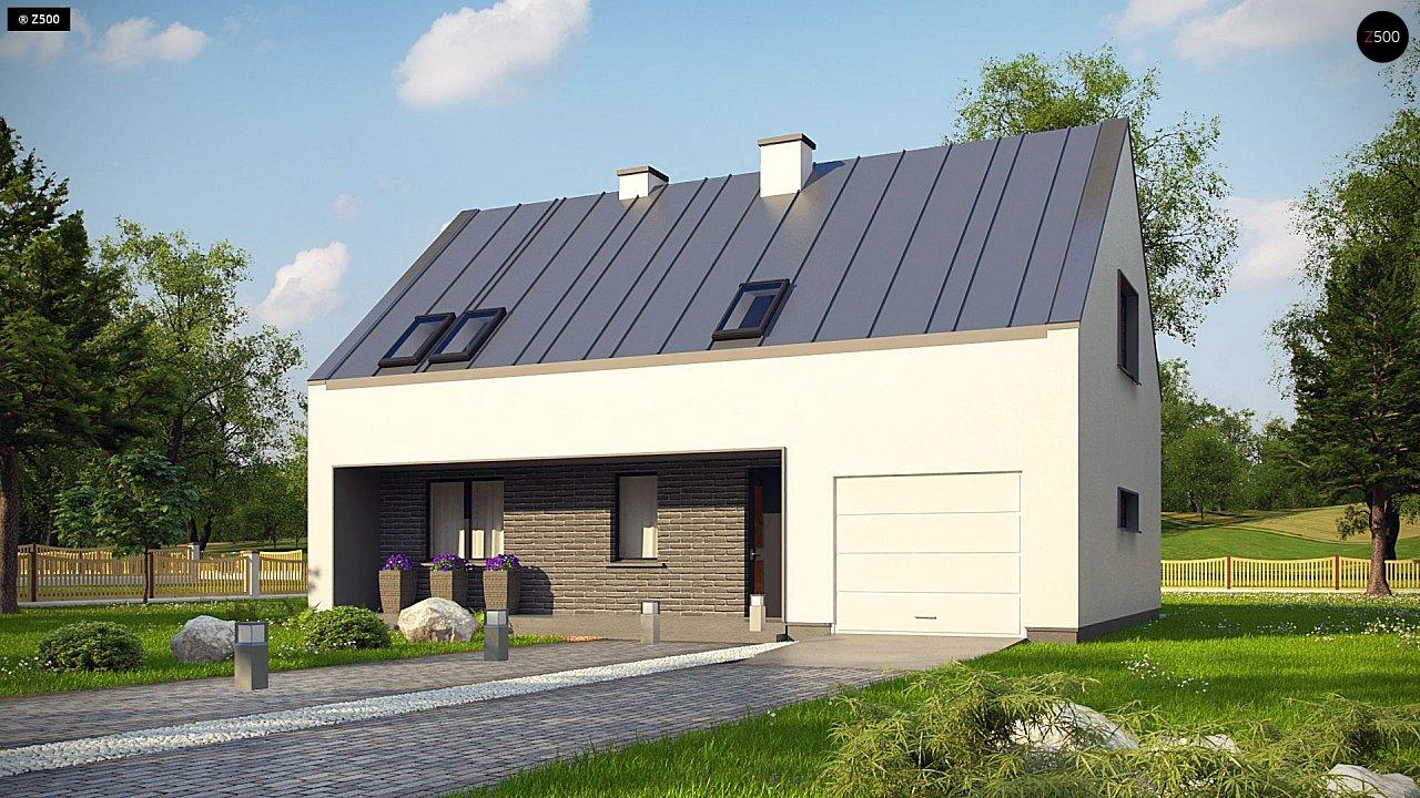 Проект мансардного с тремя спальнями и двускатной крышей 1