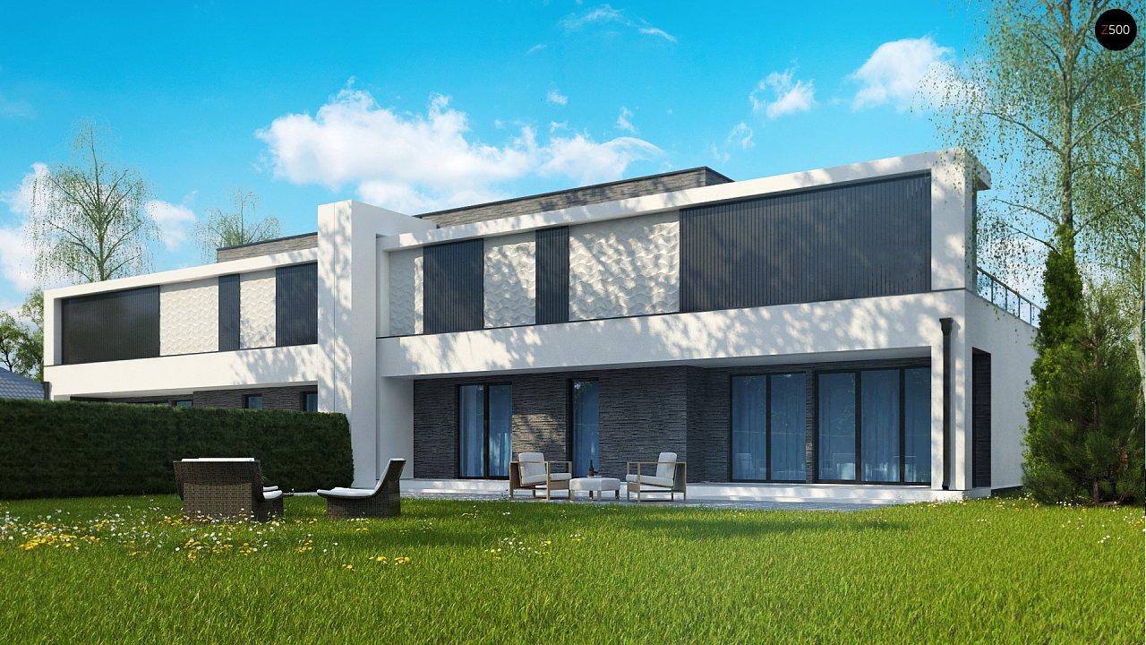 Современный проект домов-близнецов с большим гаражом и террасой на втором этаже. 2