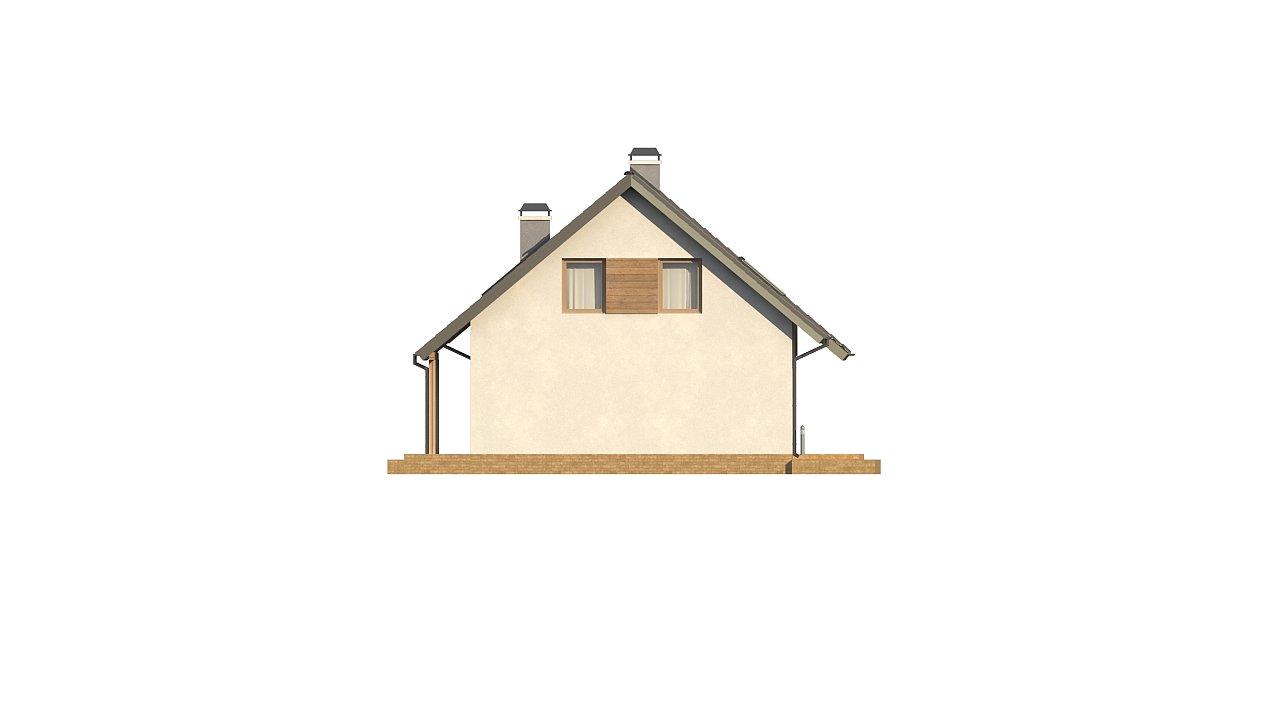 Дом с мансардой с двускатной крышей и комнатой на первом этаже 23