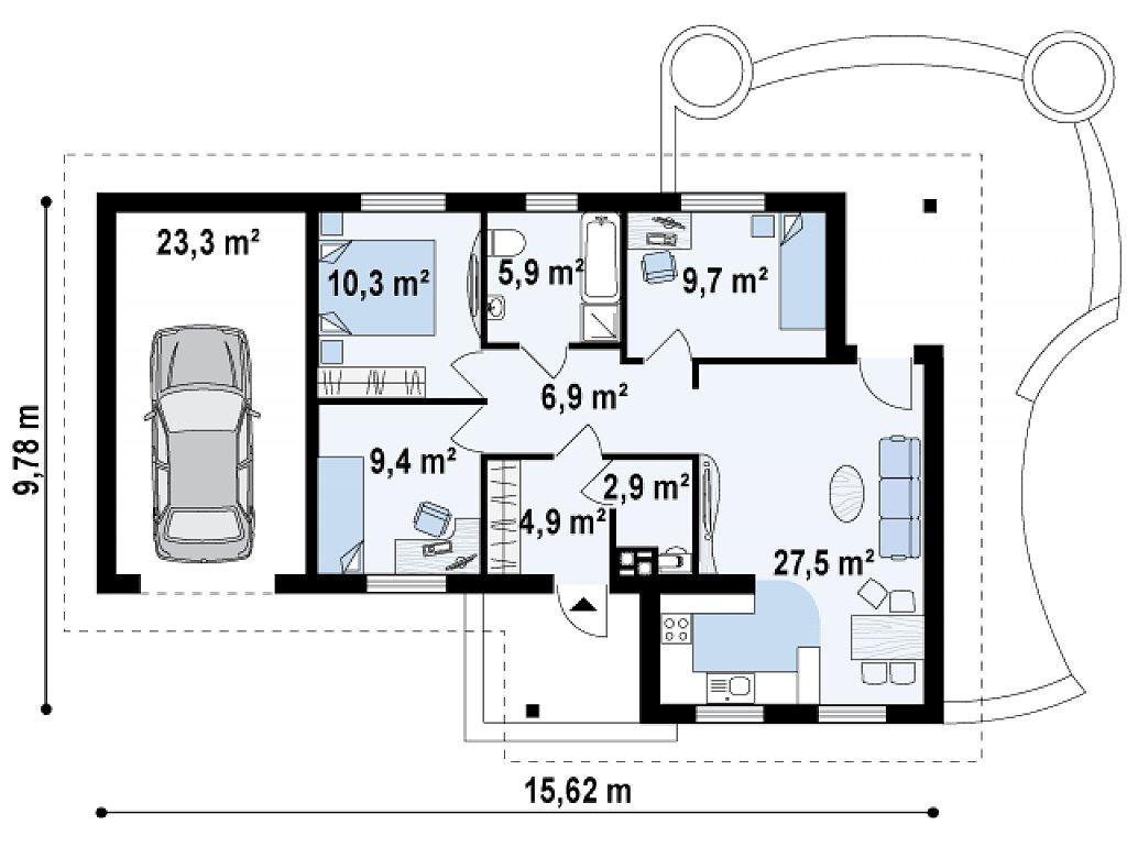 Версия проекта Z15 со вcтроенным гаражом с левой стороны. план помещений 1