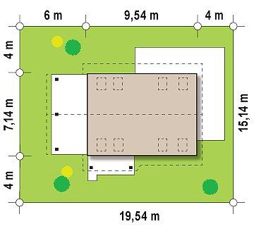 Экономичный в строительстве и реализации дом с удобной планировкой, с навесом для автомобиля. план помещений 1
